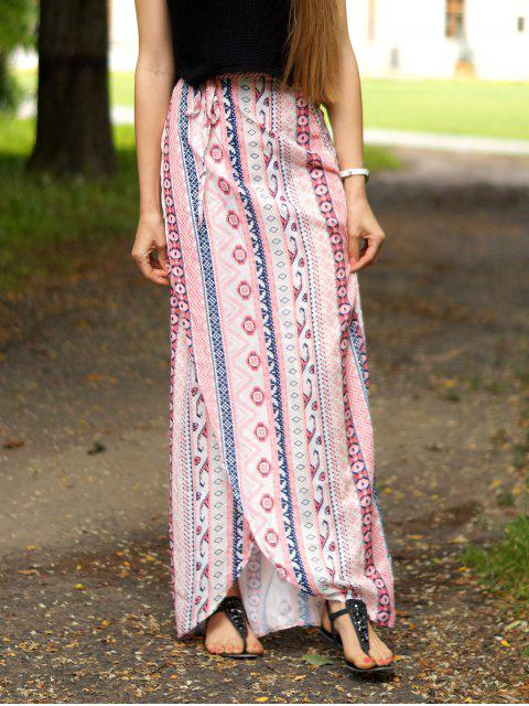latest Ethnic Print A Line Slit Skirt - PINK L Mobile