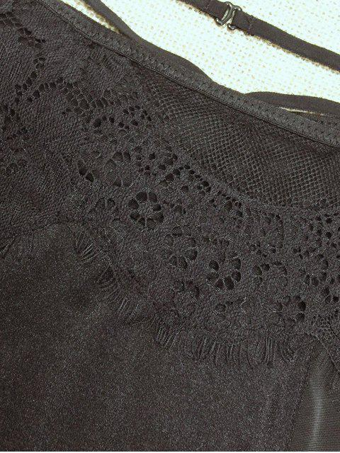hot Lace Mesh High Waisted Panty - BLACK S Mobile