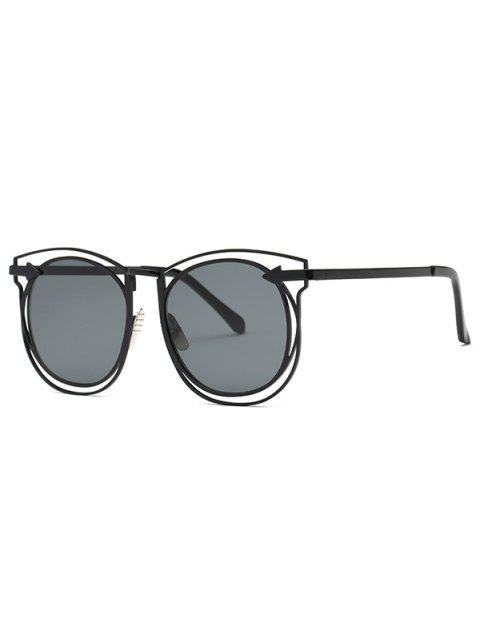 fancy Arrow Hollow Out Black Sunglasses - BLACK  Mobile