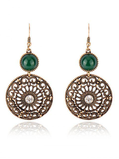 affordable Rhinestone Filigree Floral Earrings - GREEN  Mobile