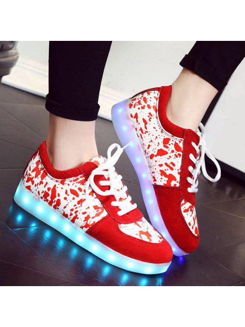 shop LED Light Sneakers - RED 41 Mobile