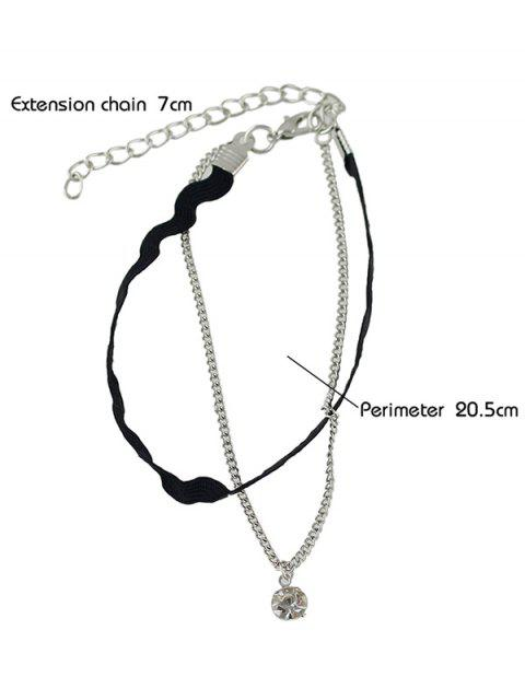 ladies Rhinestone Faux Leather Layered Thread Anklet - SILVER  Mobile