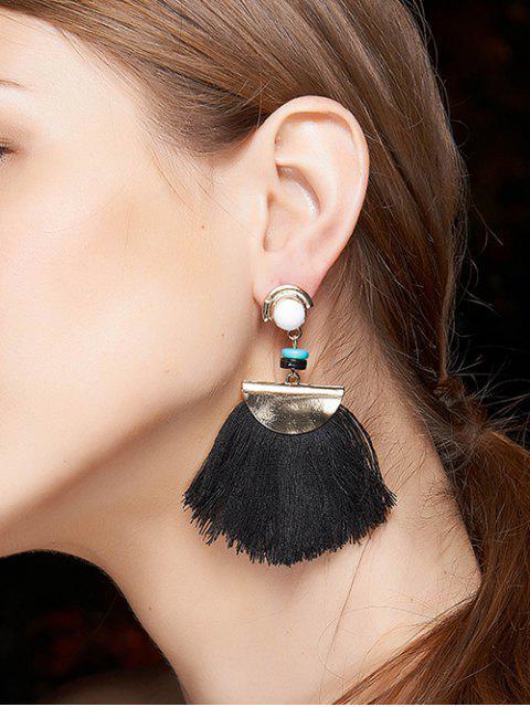 buy Bead Semicircle Tassel Earrings - BLACK  Mobile