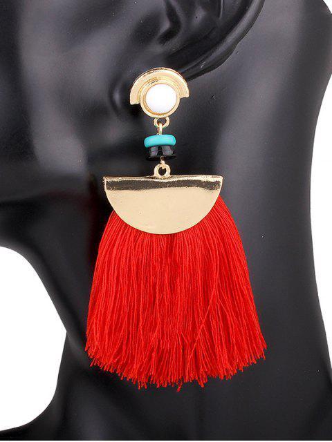 womens Semicircle Fringe Earrings - RED  Mobile