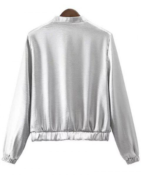 fashion Silver Stand Neck Silver Zipper Up Jacket - SILVER S Mobile