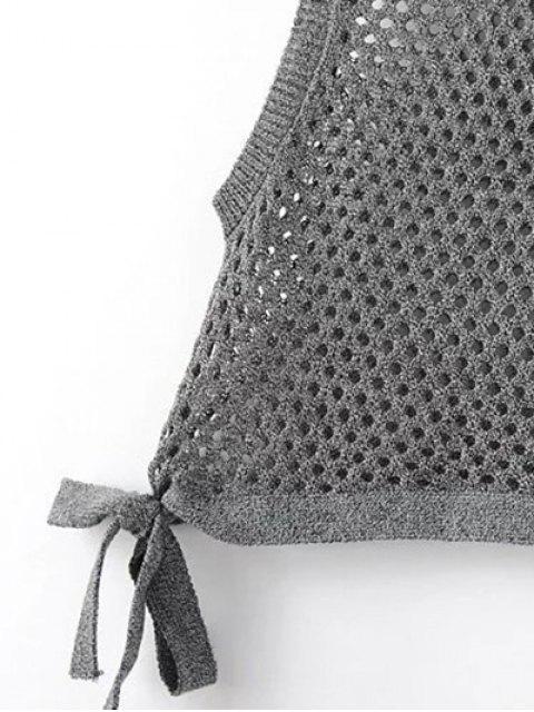 buy Asymmetric Knitted Tank Top - BLACK S Mobile