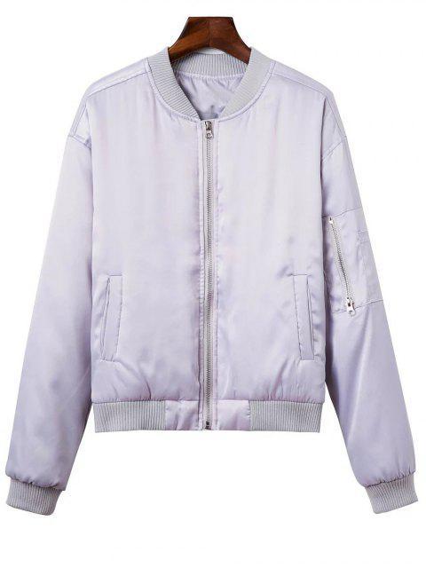chic Zipped Windbreaker Jacket - SILVER M Mobile