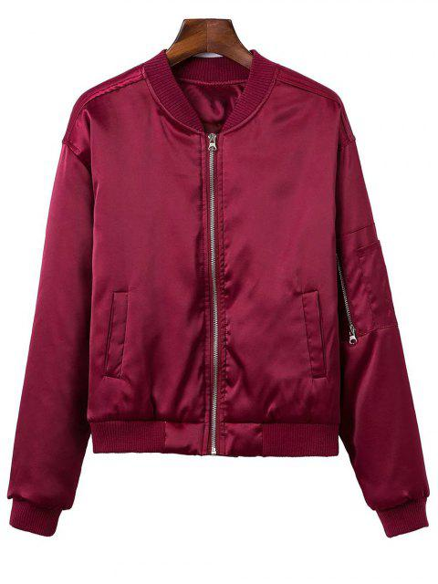 affordable Zipped Windbreaker Jacket - WINE RED M Mobile