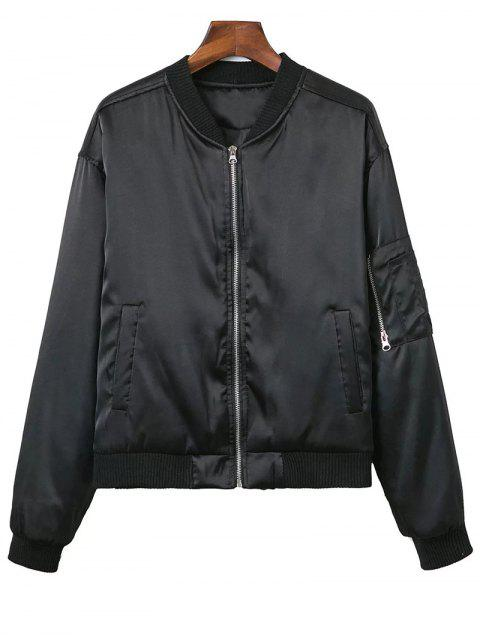 best Zipped Windbreaker Jacket - BLACK L Mobile