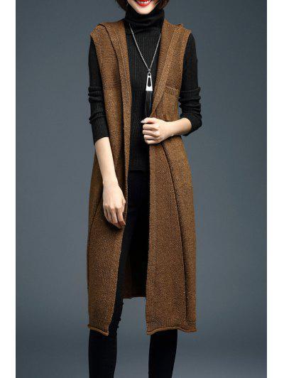 Image of Hooded Long Knit Vest