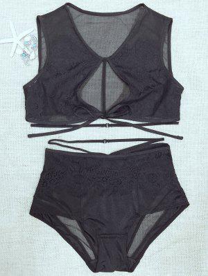 Lace Mesh High Rise Bra Set - Black S