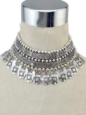 Coin Fringed Metal Choker - Silver