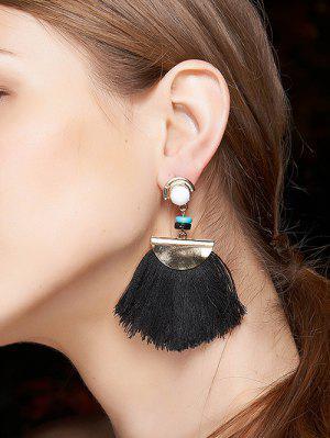 Boucles d'oreilles avec frange demi-cercle et perle