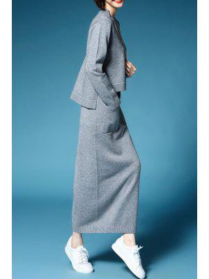 Solid Color Long Sleeve Sweater and Maxi Knitted Skirt