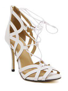Buy Lace-Up Zipper Solid Colour Sandals - WHITE 37