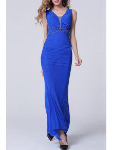 فستان الحفلة رسمي مطوي عارية الظهر طويل - الياقوت الأزرق L