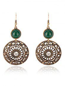 Pendientes De Diamantes De Imitación Floral Grabado - Verde
