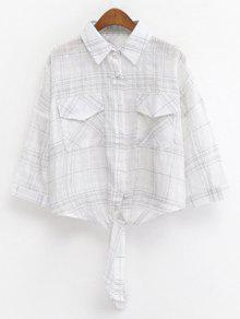 Shirt collar knotted cropped grid shirt white blouses one for Cropped white collared shirt