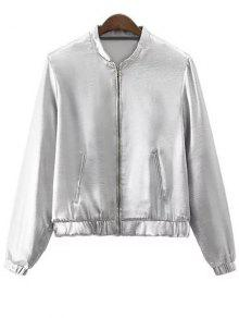 Buy Silver Stand Neck Zipper Jacket - SILVER S