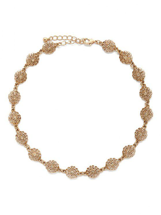 sale Filigree Flower Choker - GOLDEN