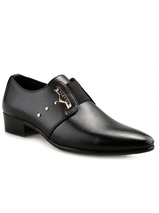 المألوف المعادن و مرونة الفرقة تصميم أحذية رسمية للرجال - أسود 43