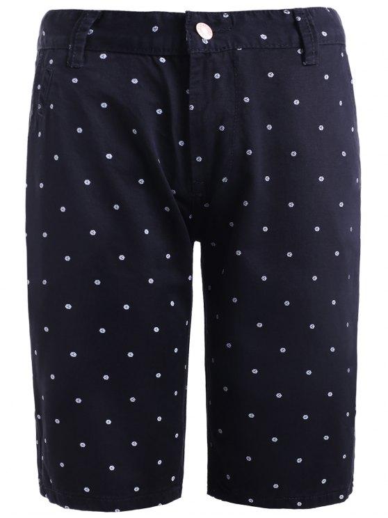 women Refreshing Straight Leg Dot Print Zipper Fly Fitted Shorts For Men - BLACK 30