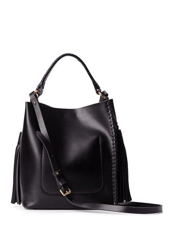 حقيبة توتي مفتوحة مزينة بشرابات - أسود