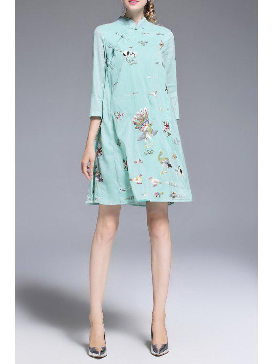 unique Embroidery Cheongsam  A Line Dress - LIGHT BLUE XL