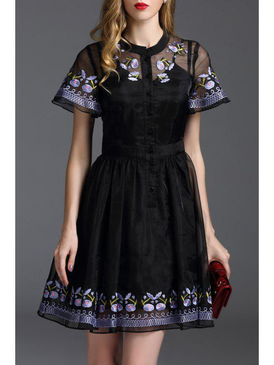 womens Floral Embroidered Mini Fit and Flare Dress - BLACK S