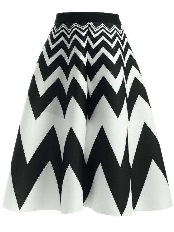 new Zig Zag High Waisted Skirt - WHITE AND BLACK ONE SIZE