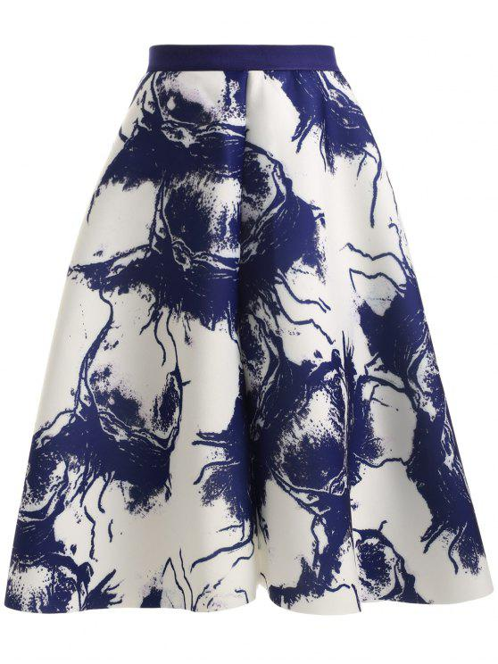 outfit High Waisted Ink Painting Skirt - BLUE AND WHITE ONE SIZE