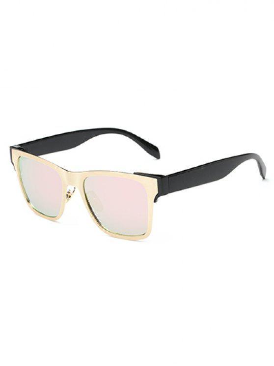 hot Color Block Mirrored Wayfarer Sunglasses - PINK