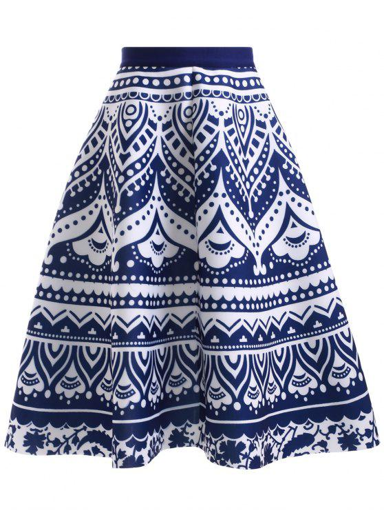 outfits High Waisted Blue and White Porcelain Print Skirt - BLUE AND WHITE ONE SIZE