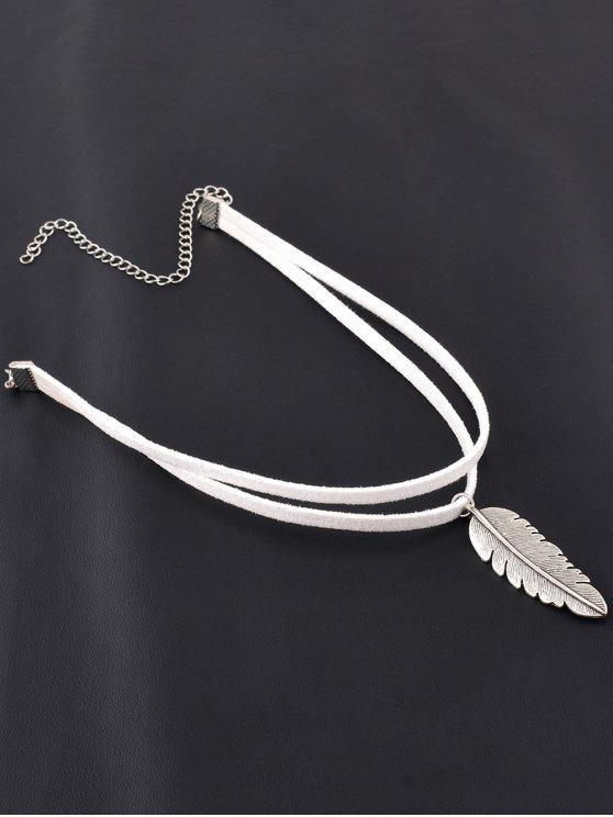 womens Alloy Feather Choker - WHITE
