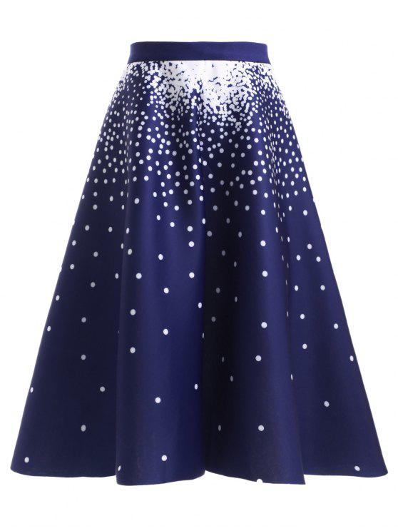 shop High Waisted Polka Dot Skirt - DEEP BLUE ONE SIZE