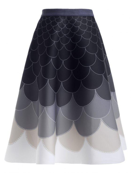 shops Ombre High Waisted Fish Scale Print Skirt - PURPLISH BLUE ONE SIZE