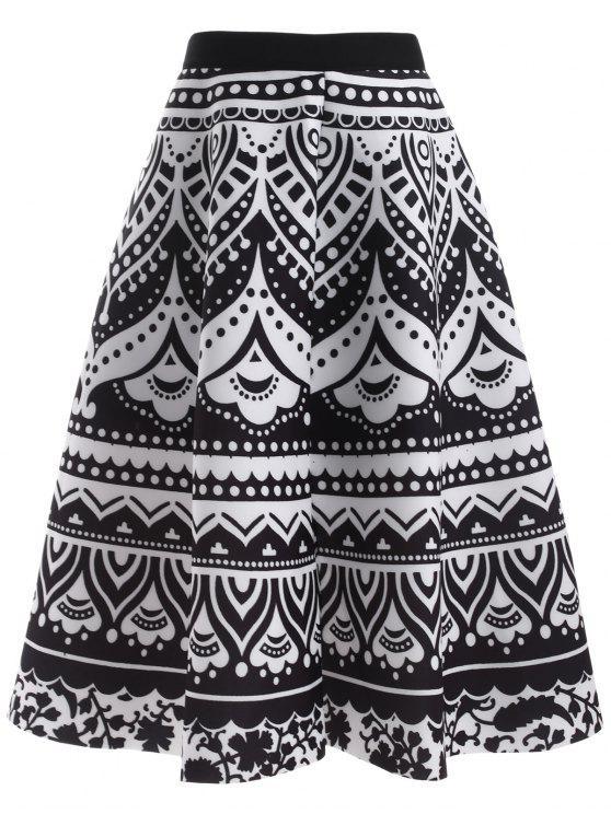 latest Printed Back Zipper High Waisted Skirt - BLACK ONE SIZE