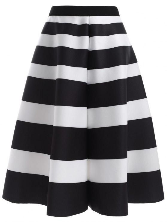 trendy Striped High Waisted Skirt - WHITE AND BLACK ONE SIZE