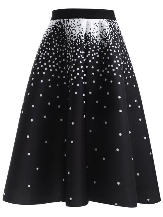 fancy Polka Dot High Waisted Skirt - BLACK ONE SIZE