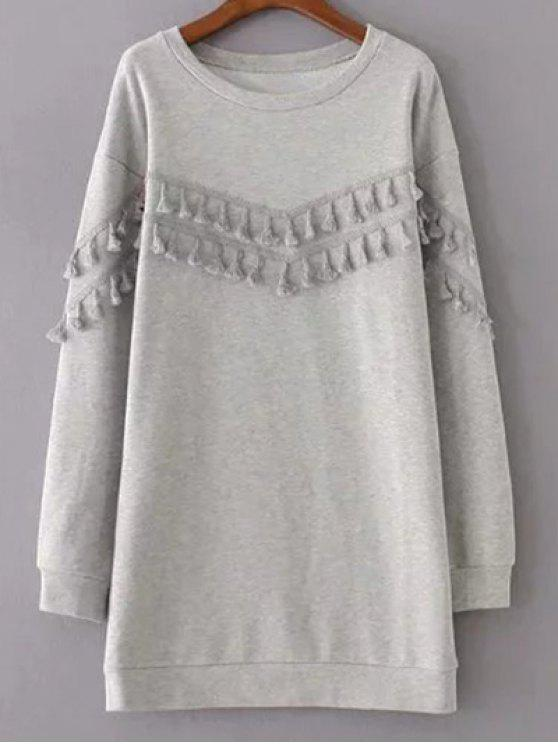 shop Fringed Grey Sweatshirt Dress - GRAY S