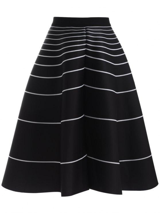women Stripe High Waisted Skirt - BLACK ONE SIZE