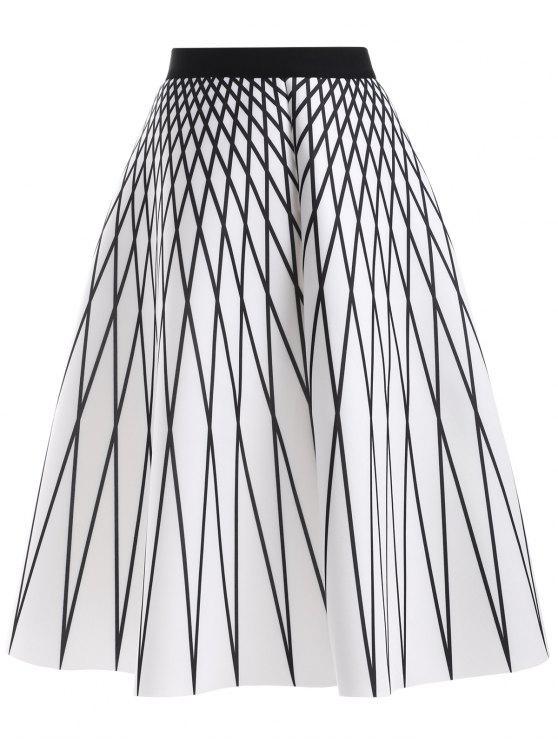 Modelo de Argyle de la falda de talle alto - Blanco Única Talla