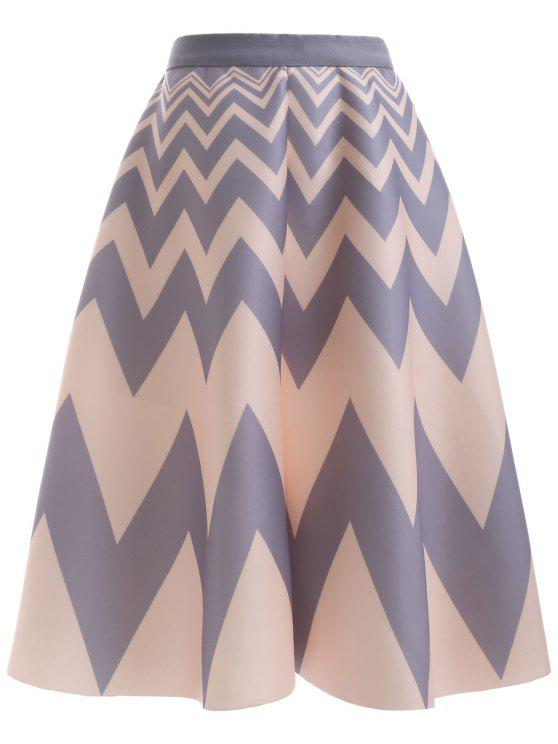 new High Waisted Chevron Skirt - APRICOT ONE SIZE