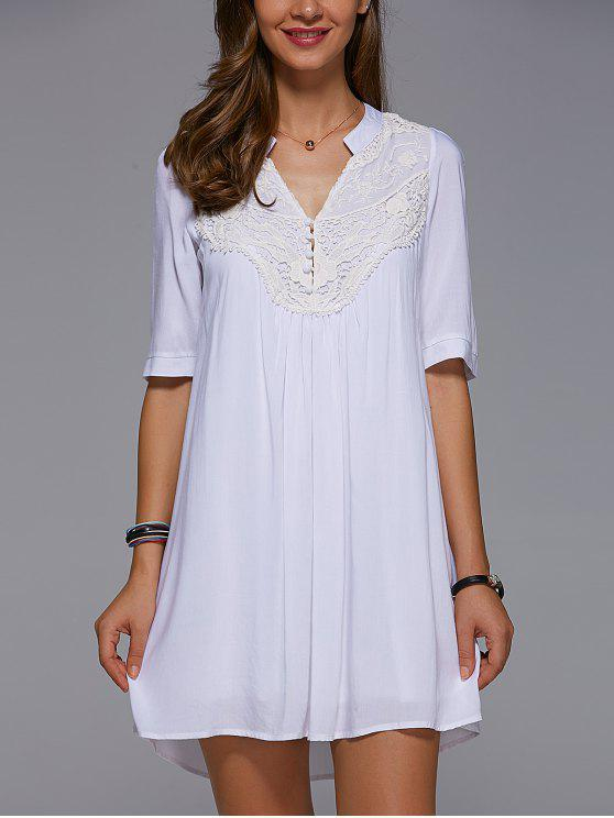 Empiècements en dentelle Mini robe Tunique - Blanc L