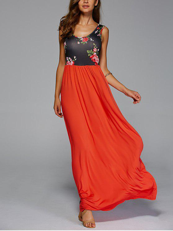 women's Floral Print Scoop Neck Maxi Dress - RED WITH BLACK M