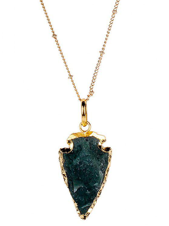 new Faux Gem Arrow Necklace - BLACKISH GREEN