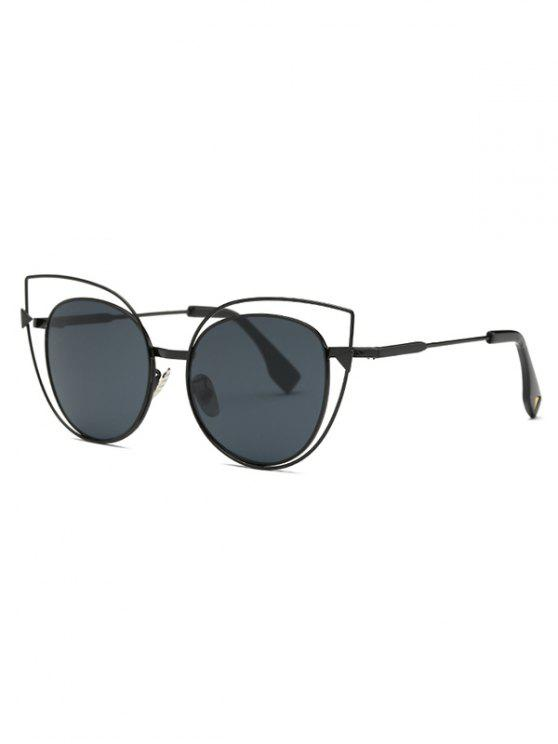 unique Hollow Out Black Cat Eye Sunglasses - BLACK