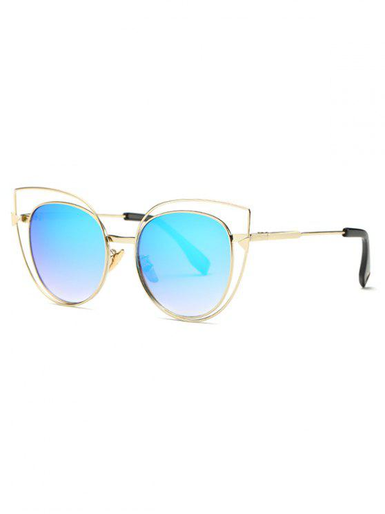 affordable Hollow Cat Eye Mirrored Sunglasses - LIGHT BLUE