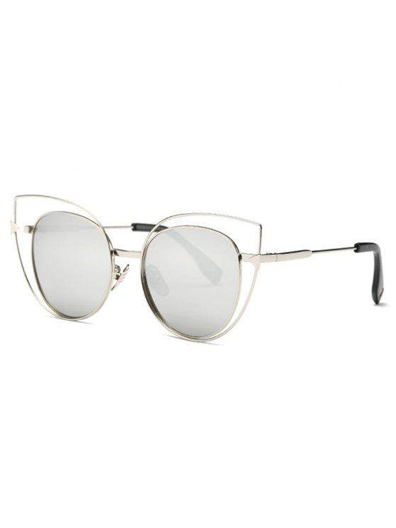 buy Hollow Cat Eye Mirrored Sunglasses - SILVER