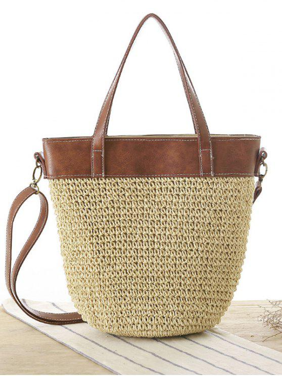 shops Splicing Weaving Straw Shoulder Bag - BEIGE